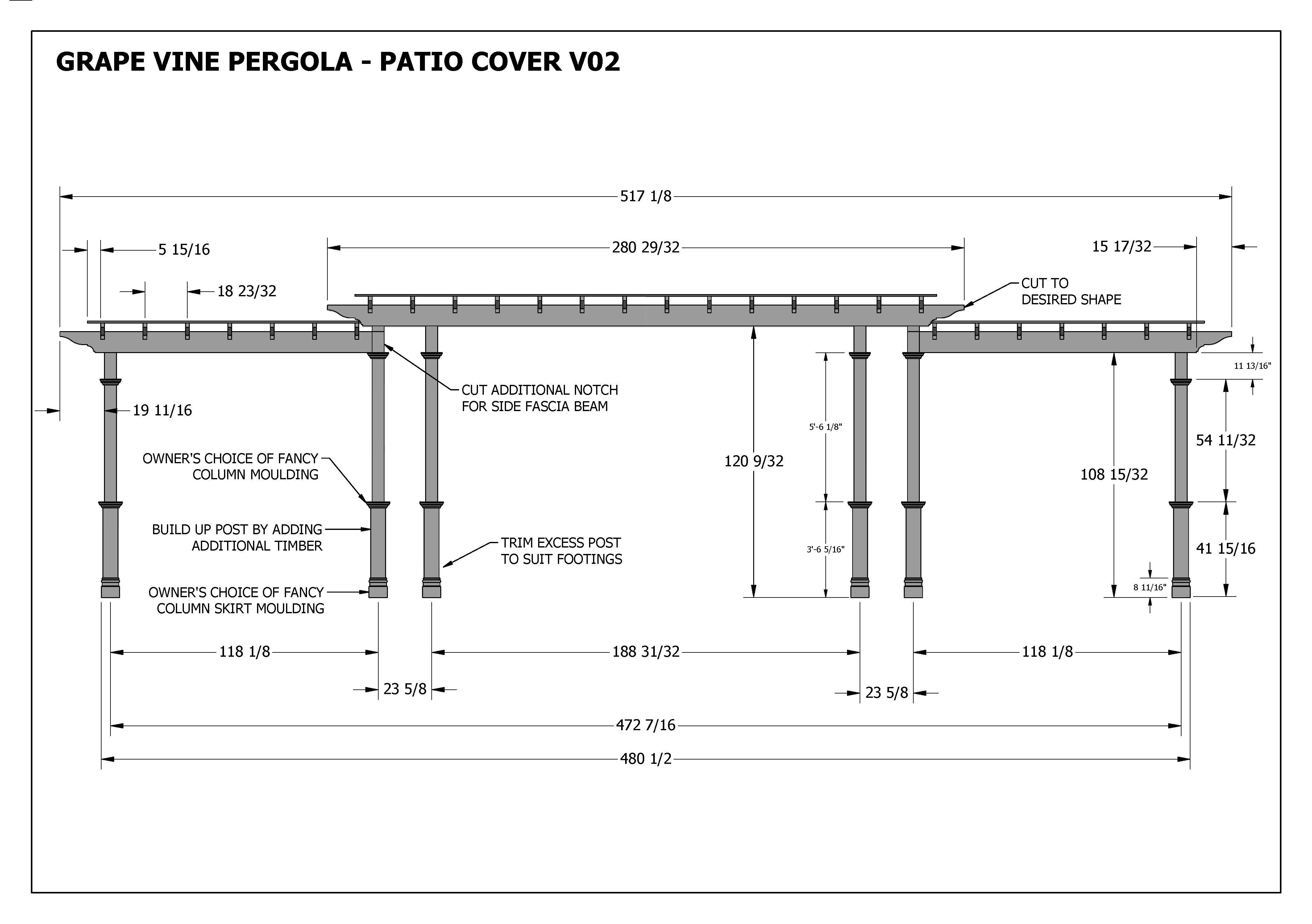 GRAPE VINE PERGOLA - OUTDOOR PATIO COVER - V2 Full ... on Patio Cover Decorating Ideas id=12438