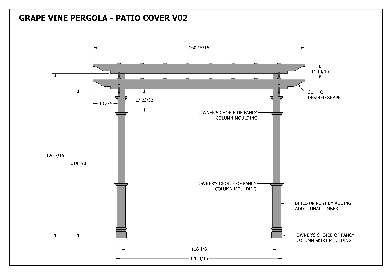 GRAPE VINE PERGOLA - OUTDOOR PATIO COVER - V2 Full ... on Patio Cover Decorating Ideas id=13779