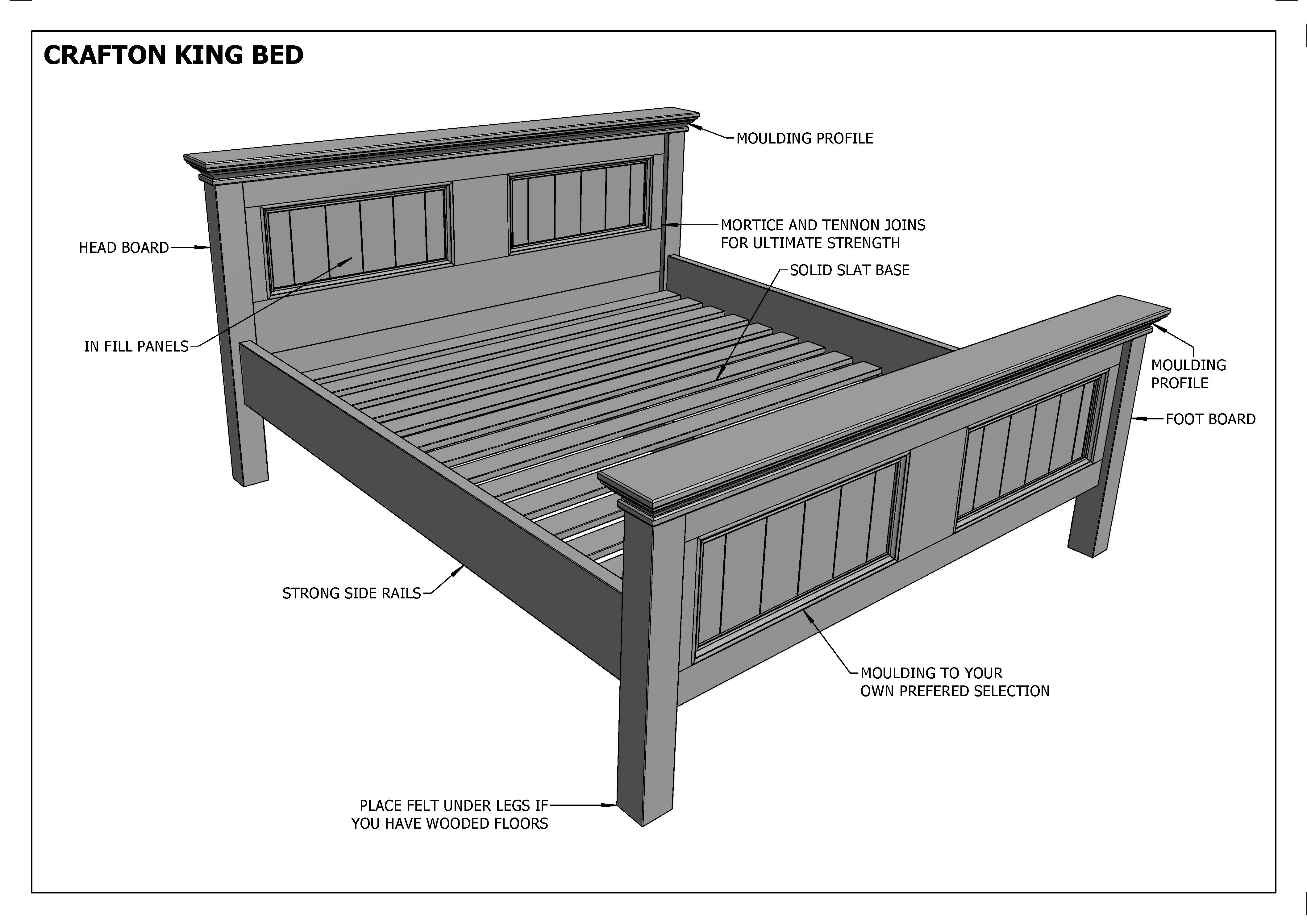 Building Plans For Crafton King Size Timber Bed Make Your Own Save Ebay