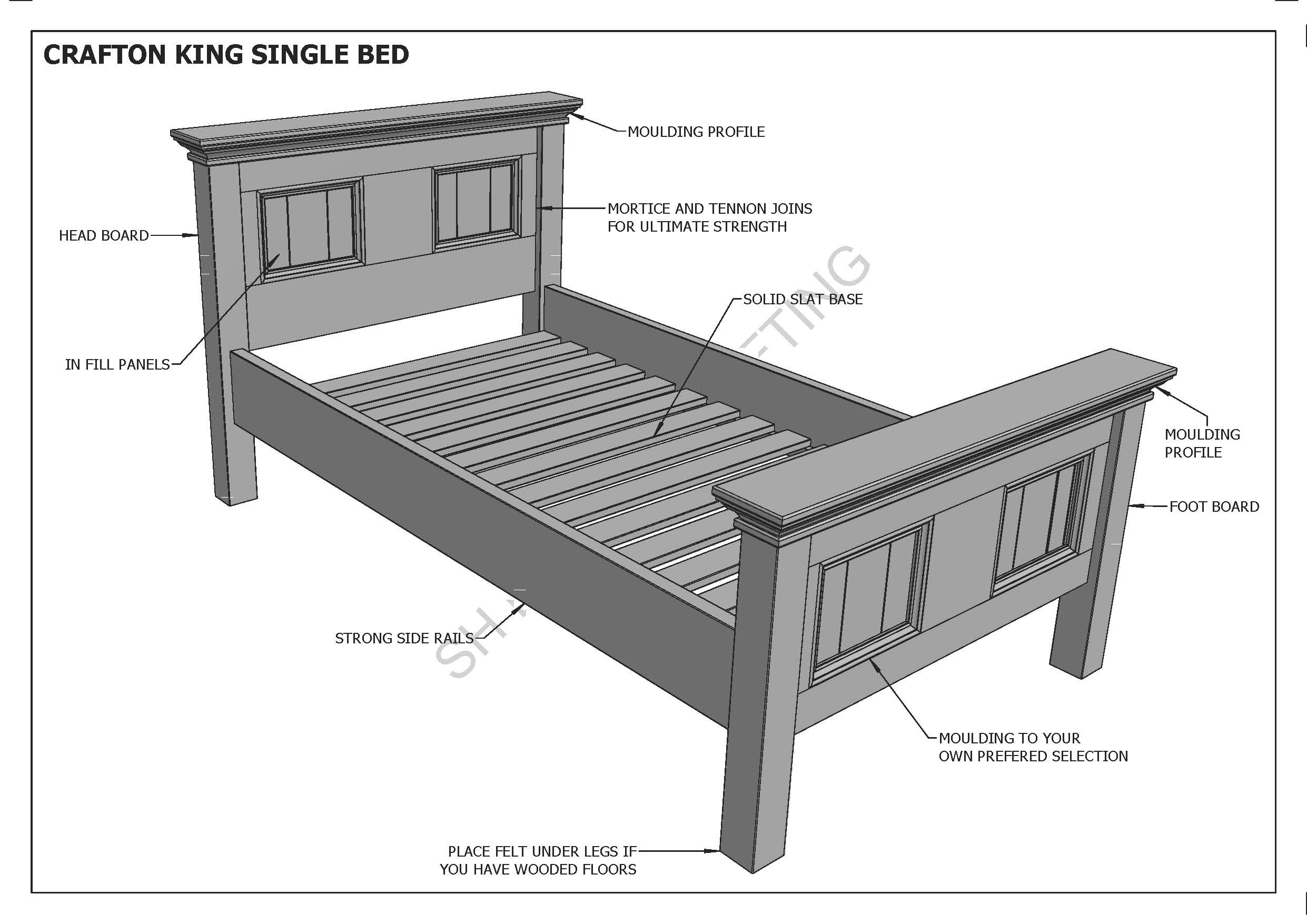Building Plans For Crafton King Single Timber Bed Make Your Own Save Ebay