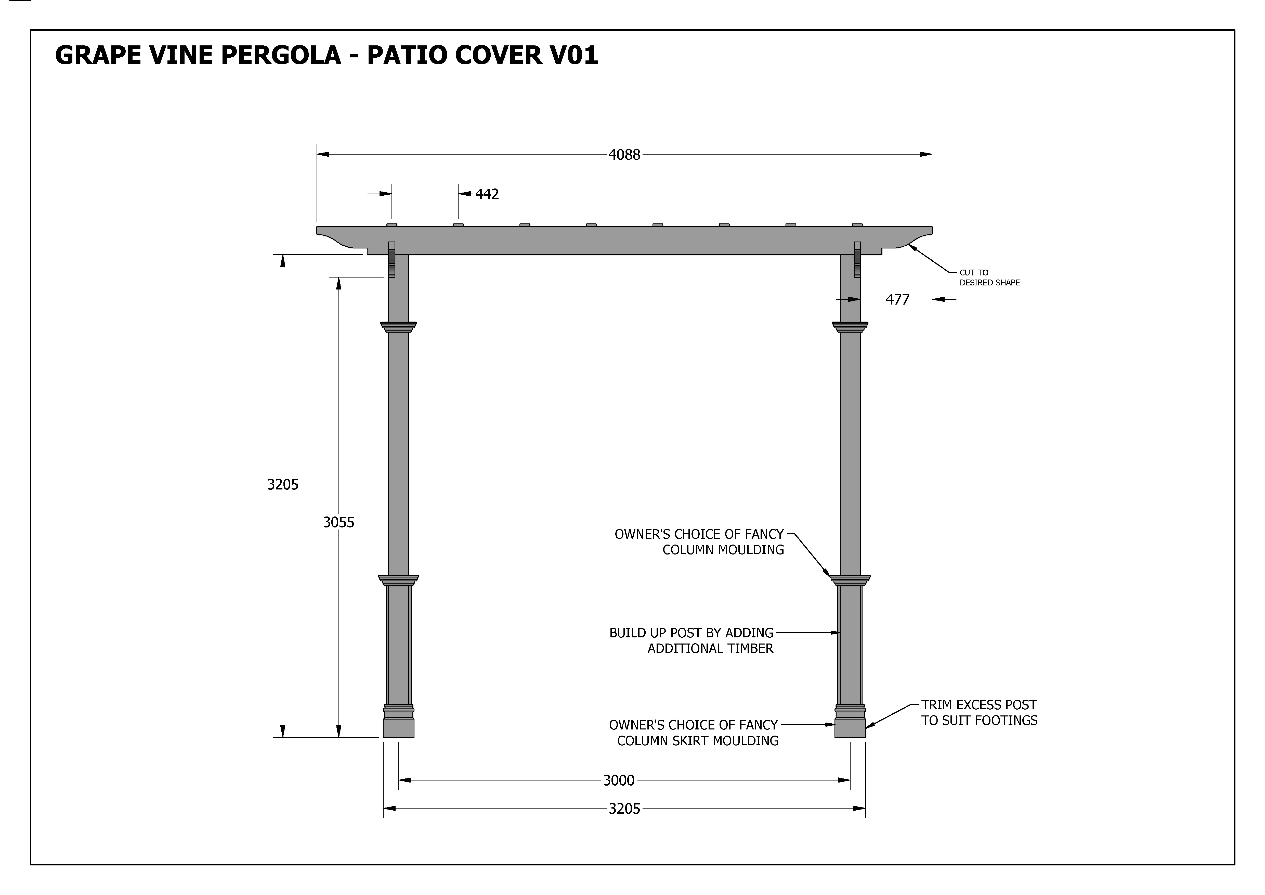 GRAPE VINE PERGOLA - OUTDOOR PATIO COVER V1 - Full ... on Patio Cover Decorating Ideas id=82482