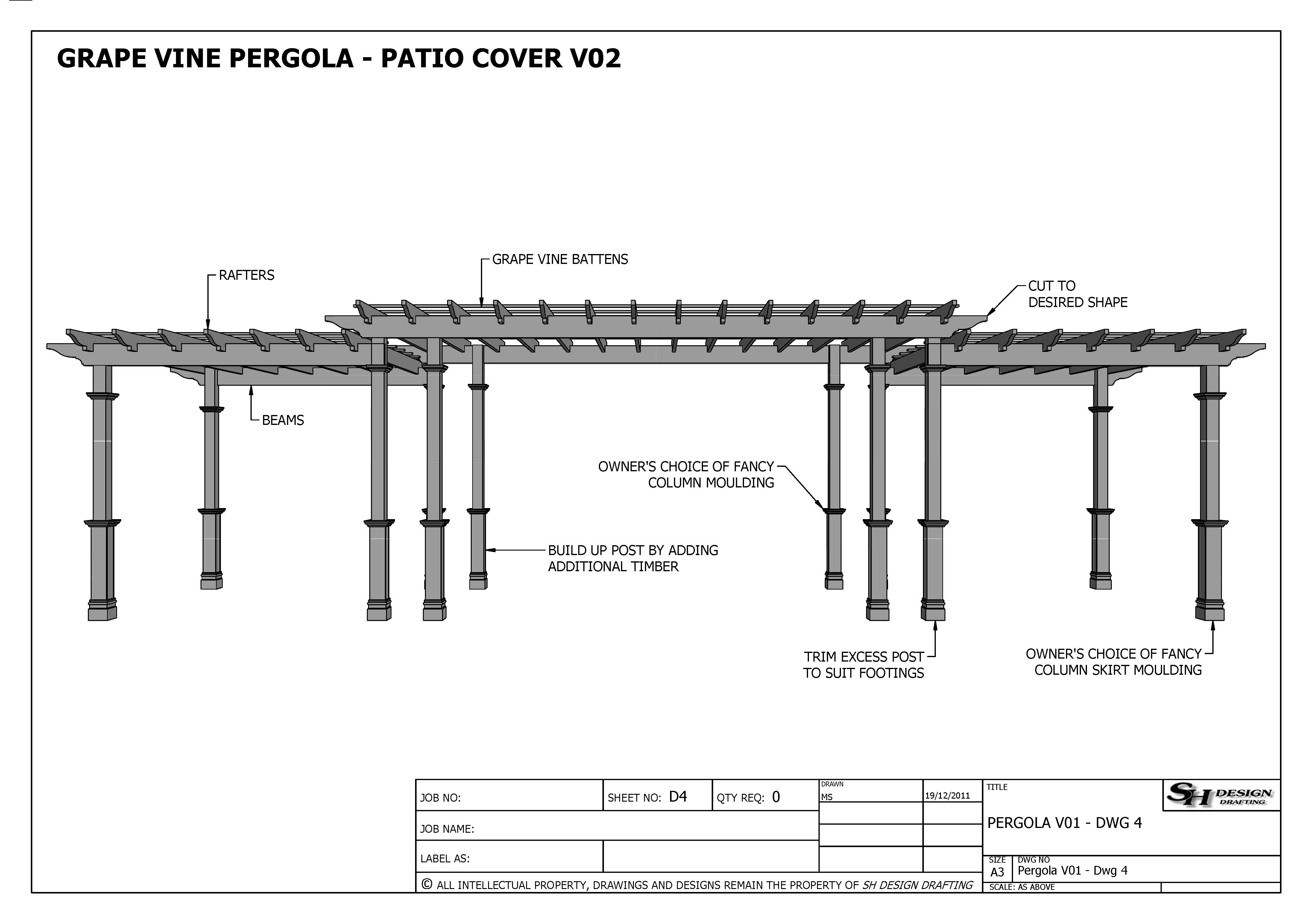 GRAPE VINE PERGOLA - OUTDOOR PATIO COVER - V2 Full ... on Patio Cover Decorating Ideas id=69169