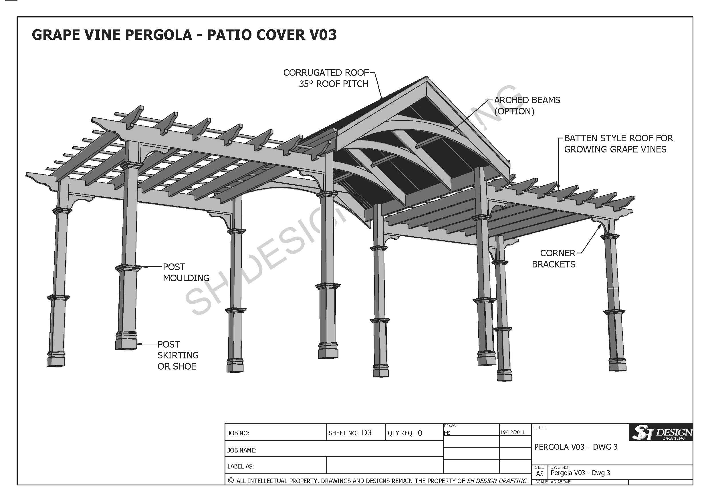 GRAPE VINE OUTDOOR PERGOLA - PATIO COVER VERANDA V3 - Full ... on Patio Cover Decorating Ideas id=69793