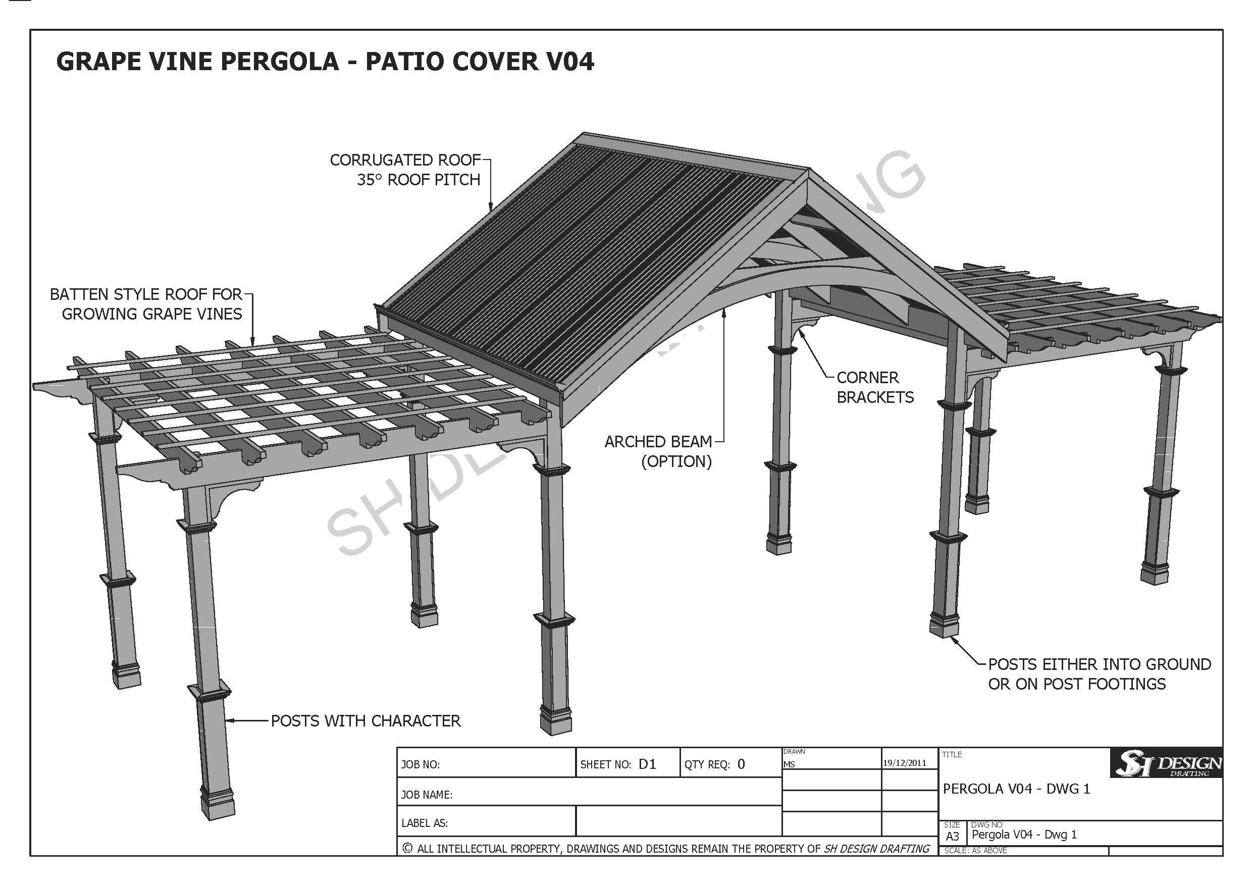 GRAPE VINE OUTDOOR PERGOLA - PATIO COVER VERANDA V4 - Full ...
