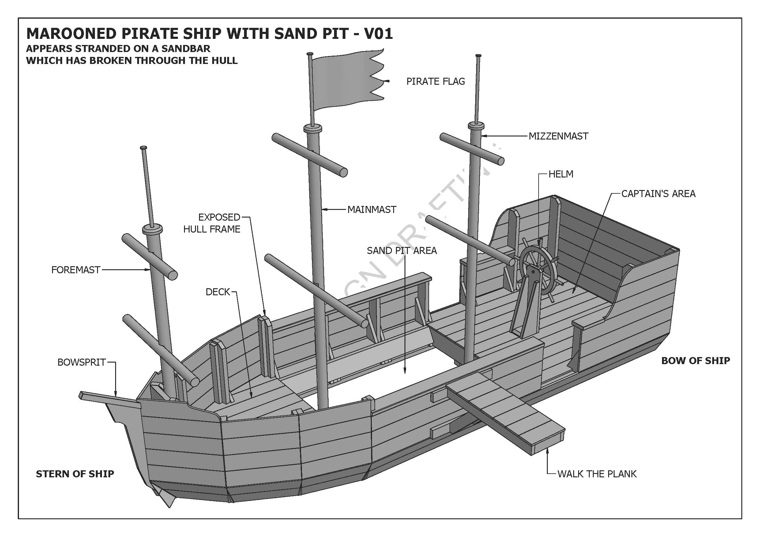Marooned Pirate Boat With Sand Pit Cubby Play House