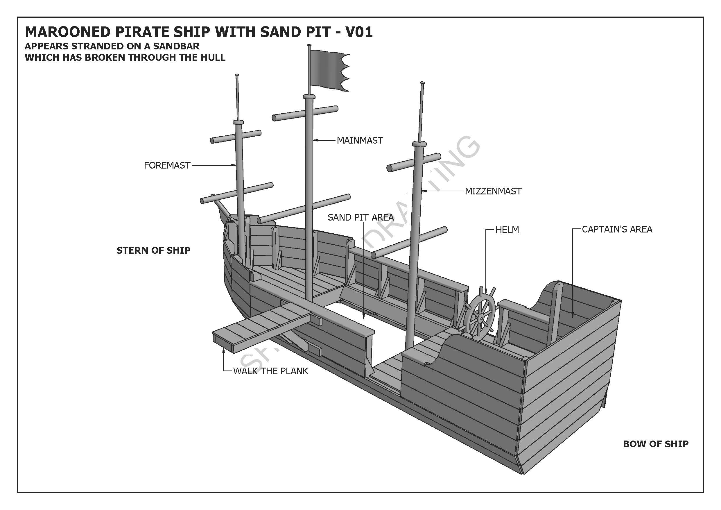 Marooned Pirate Boat With Sand Pit Cubby Play House Building Tall Ship Diagram Nautical History Pirates Ships Pinterest Click Thumbnails Above To Enlarge